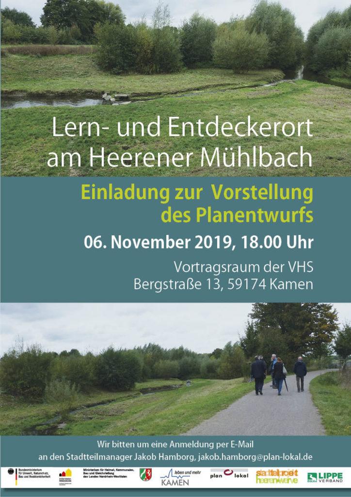 Einladung zur Vorstellung des Planentwurfs zum Lern- und Entdeckerortes am Heerener Mühlbach